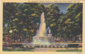 Pennsylvania Erie Automatic Electric Fountain At Night East Perry Square Curt...
