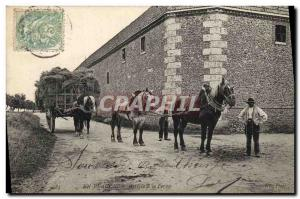 Old Postcard Folklore Peasants In Beauce Arrive in farm Carriages Horses TOP