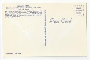 NY Mcalpin Hotel Alpine Cellar Restaurant Dancers Postcard