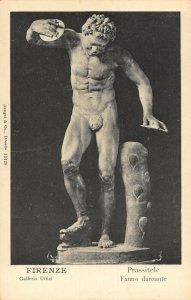 Firenze Galleria uffizi Prassitele Fauno Danzante Statue Postcard