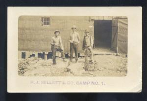 RPPC PJ MILLET & CO. CAMP NO. 1 WWI MILITARY VINTAGE REAL PHOTO POSTCARD
