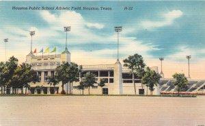 G22/ Houston Texas Postcard Public School Football Stadium Linen