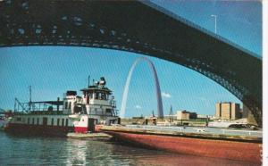 Missouri St Louis Riverfront Tugboats and Barges Passing Under East Bridge Be...