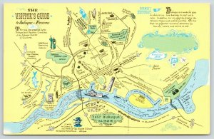 Dubuque IA~Environs~Visitors Map Guide~Historic~Main Street~River~1960s Postcard