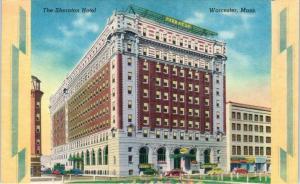 WORCESTER, MA Massachusetts  The SHERATON HOTEL  c1940s  Roadside Linen Postcard
