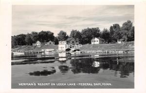C95/ Federal Dam Minnesota Mn RPPC Postcard c50s Herman's Resort Leech Lake