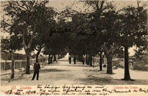 PC CPA ANGOLA / PORTUGAL, LOANDA, CALCADA DAS CRUZES, Vintage Postcard (b21614)