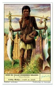 New Guinea Nieuw Guinea, How Children are Carried Liebig Belgian Trade Card