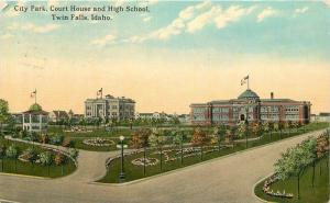 Behn's City Park Court House High School 1918 Twin Falls Idaho postcard 10704