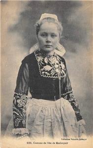 Girl In Costume de Fête de Quimper France ca 1910s Vintage Postcard