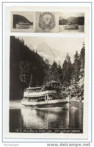 RPPC, M.S. Alice Ross Steamer on Diablo Lake in Washington 1941 Real Photo
