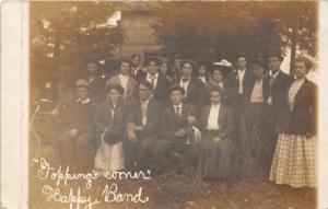 F15/ Mattoon Wisconsin RPPC Postcard 1910 Toppings Corner Happy Band