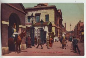 P1153 vintage postcard london people street scene with horse guards at whithall