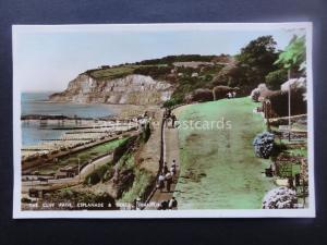 Isle of Wight SHANKLIN Cliff Path Esplanade & Beach Old RP Postcard by Nigh 5126
