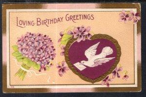 Birthday Greetings Bird Flowers