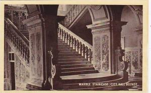 Interior, Marble Staircase, City Hall, Belfast, Northern Ireland, UK, 1910-1920s