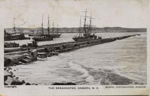 new zealand, OAMARU, The Breakwater, Sailing Boats (1920s) Morris Postcard