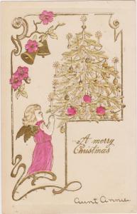 Embossed: Cherub praying to decorated tree, A Merry Christmas, PU-1906