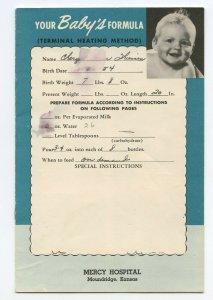 Your Baby's Formula Mercy Hospital Moundridge Kansas Vintage 1950's Booklet