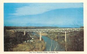 Lexington Kentucky~Clay Ferry Memorial Bridge~1950s Postcard
