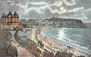 SCARBOROUGH YORKSHIRE UK~ MOON LIGHT VIEW OF THE BEACH POSTCARD 1908