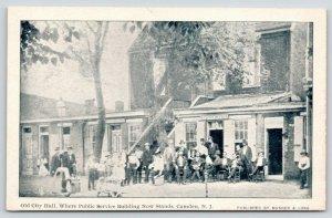Camden NJ~Old City Hall c1880~Mayor's Office~Townspeople~1905 B&W Postcard