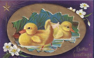 AS: EASTER, 1900-10s; Greetings, Two Ducklings swimming in pond, Gold egg she...