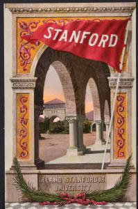 California ~ STANFORD Leland Stanford Jr University Banner Divided Back
