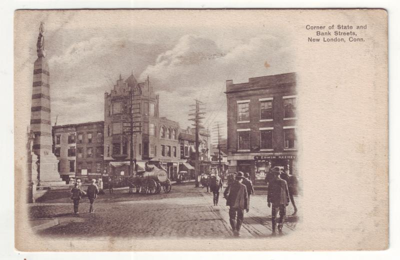 P571 JLs  old cars horse wagon street scene state & bank streets new london conn