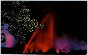 Kennet Square, PA Postcard LONGWOOD GARDENS Fountains / Night Scene 1950s Unused