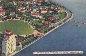 Florida Jacksonville Memorial Park & The St Johns River 1949 Curteich