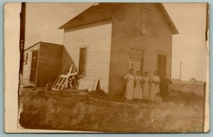 RPPC~Five Ladies & Little Boy @ Farm House~Lean-To Shed~Leftover Wood~Broom 1910