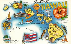 LPM44 Hawaii Map Chrome Postcard Islands