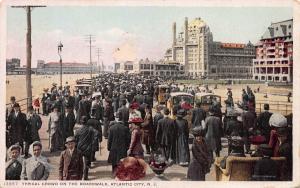 Typical Crowd on  the Boardwalk, Atlantic City, N.J., Early Postcard, Unused
