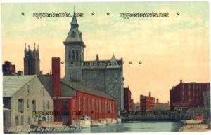 Erie Canal & City Hall, Rochester NY