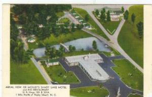 Aerial view fo Mosley's Shady Lake Motel and Rio Restaurant, Rocky Mount, Nor...