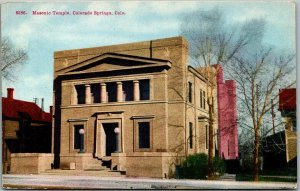 1910s Colorado Springs Postcard Masonic Temple Lodge Building Masons Fraternal