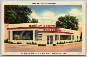 Painesville Ohio~Jerry & Bert's Restaurant~ART DECO Diner~1949 Linen Postcard