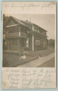 RPPC Live in Upstairs Flat~Sleeping Porch~Little Girls~Ground Floor Owner c1910