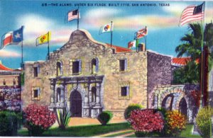 San Antonio TX - THE ALAMO ruled under 6 different flags 1930/40s