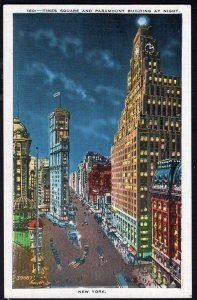 New York City Times Square and Paramount Building at Night - LINEN