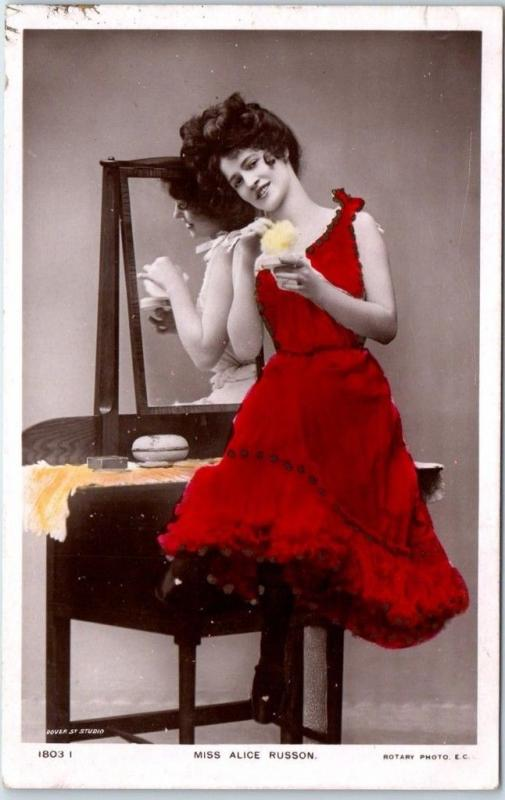 Vintage Actress RPPC Postcard MISS ALICE RUSSON Red Dress Tinted Photo c1900s