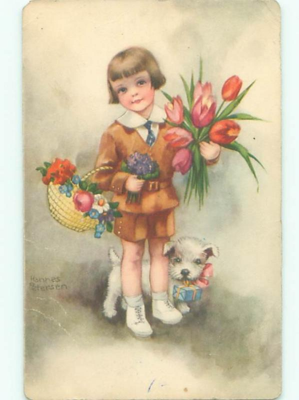 foreign Old Postcard signed ADORABLE WHITE DOG HOLDS GIFT BEHIND CHILD AC2773