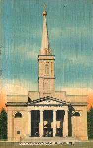 St. Louis, Missouri, MO, The Old Cathedral, 1943 Linen Vintage Postcard b9176