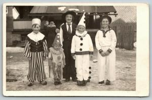 RPPC~Kids Dress-Up~Three Clowns~Girl in Suit w/Mustache~Female Sailor~RPPC c1910