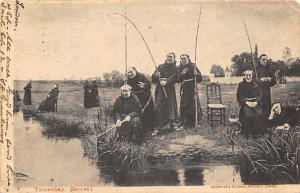 Fishing Postcard Monks Fishing in the Stream 1903