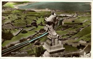 malta, MELLIEĦA, Panorama (1930s) Tinted RPPC Postcard