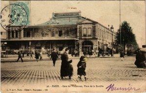 CPA AK PARIS 12e Gare de VINCENNES Place de la Bastille (575956)