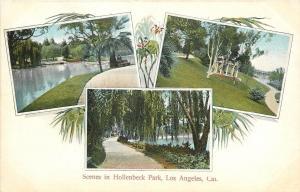 Los Angeles CA~Hollenbeck Park~Lake~Gazebo~Paths~1905 Art Nouveau Postcard