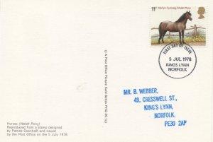 Welsh Pony Horse Kings Lynn Royal Mail FDC Equestrian Postcard